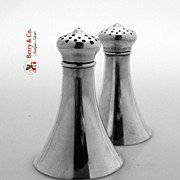Lighthouse Shape Salt And Pepper Shakers Wallace Sterling Silver 1910