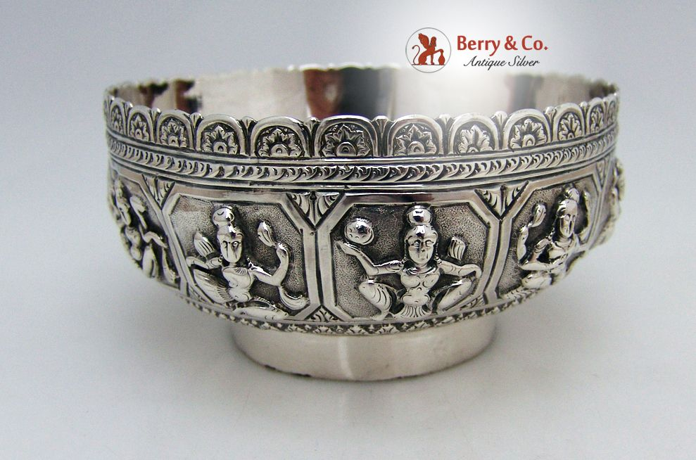 Indian Goddess Bowl Double Walled Sterling Silver 1890