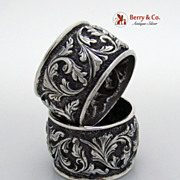 SALE PENDING Pair of Huge Sterling Silver Repousse Napkin Rings
