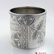 Bright Cut Sterling Silver Napkin Ring Christmas Inscription 1906
