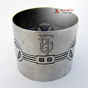 Geometric Designs 800 Silver Napkin Ring 1900