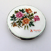 Enamel Rose Compact Mappin Webb Sterling Silver 1937