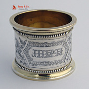 Coin Silver Gilt Napkin Ring Large Heavy 1870