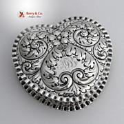 Heart Shape Pie Crust Large Box Sterling Silver Gorham 1892