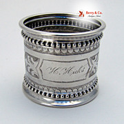 Coin Silver Large Napkin Ring Beaded Border 1880