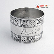 Early Arets and Crafts Napkin Ring 1885 Sterling Silver Monogram RNP