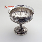Persian Footed Bowl Cut Work Rim 900 Silver 1940