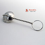 SALE Baby Rattle Spinning Sagittarius Dutch Sterling Silver Wire Handle