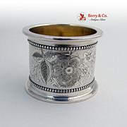 Massive Napkin Ring Bright Cut Coin Silver 1870