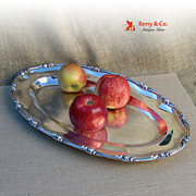 Wave Edge Large Oval Serving Tray Sterling Silver 1890