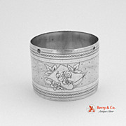 French Napkin Ring Engine Turned Engraved 950 Sterling Silver 1890
