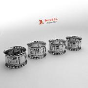Coin Silver Napkin Rings 4 Open Work Rims 1860