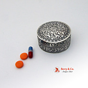 Floral Engraved Round Pill Box 900 Silver