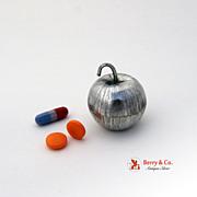 Figural Apple Pill Box Sterling Silver