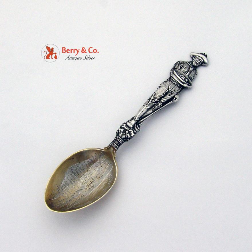 Miner Treadwell Alaska Souvenir Spoon Mayer Sterling Silver 1895