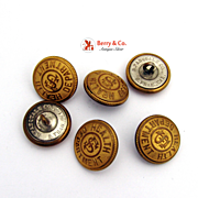 San Francisco Health Dept 11 Buttons Gilt Brass B Pasquale Co. 1930