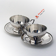 Hungarian Cups and Saucers Pair Beaded 800 Silver 1900 No Monograms