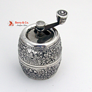 Vintage Pepper Grinder Taj Mahal and Floral Repousse Decorations 900 Silver