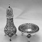 SOLD Repousse Open Salt and Pepper Shaker Kirk & Son 1940 Sterling Silver