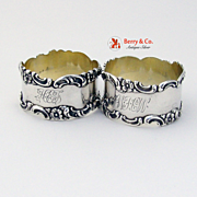 Pair of Napkin Rings Sterling Silver Scroll and Floral Designs