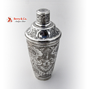 SALE PENDING Persian Cocktail Shaker 900 Silver Ornate 1920