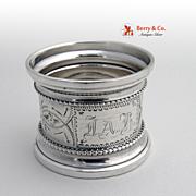 Napkin Ring Engraved Coin Silver 1880