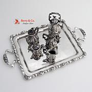 Miniature Coffee Tea Set  Hot Watter Kettle Tray Sterling Silver