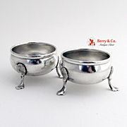 Open Salt Dishes Pair 1930 Sterling Silver