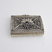 Ornate Antique Floral Cigarette Box Sterling Silver 1860