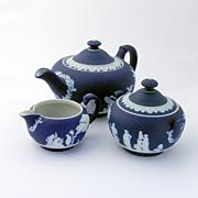 Wedgwood Tea Set Cream Color On Blue Jasperware Porcelain c.1900