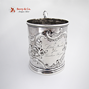 Antique Chased Rose And Scroll Large Cup Coin Silver Jackson And Many 1870