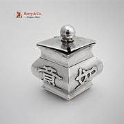 Chinese Small Diamond Shape Mustard Pot Export Silver 1920