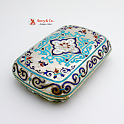 Amazing Antique Russian Cigarette Case 84 Standard Silver Enamel Moscow 1886
