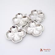 Set Of 4 Four Leaf Clover Nut Cups Sterling Silver Lenox 1940