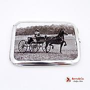 Horse Show Cigarette Case Enamel 1910 Sterling Silver Birmingham