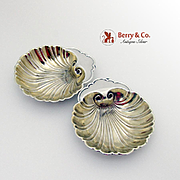 Shell Nut Cups Place Card Holders Sterling Silver Pair Gorham 1940