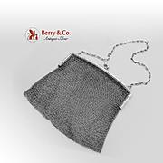 Ladies Chain Link Mesh Purse Handbag Sterling Silver 1900