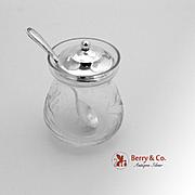 SALE PENDING Grape Vine Mustard Pot Sterling Silver Acid Etched Glass Webster 1950