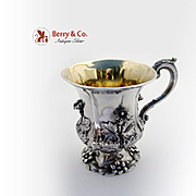 Magnificent Georgian Floral Repousse Cup Sterling Silver Richard Pierce George Burrows III 183