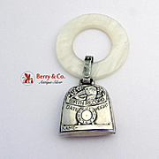 Birth Record Stork Baby Rattle Teething Ring Sterling Silver Faux Synthetic Mother Of Pearl 19