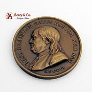 Benjamin Franklin Natus Boston Medal Bronze Paris Restrike 1845 - 1860