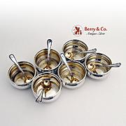 Open Salt Dishes Salt Spoon Sterling Silver Watson 1930
