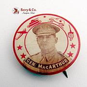 Patriotic Douglas MacArthur Militaria Badge Pin Button 1950