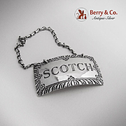 Scotch  Bottle Tag Stieff Williamsburg Sterling Silver 1950