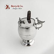 Figural Bird Mustard Pot Sterling Silver Sanborns Mexico 1950s