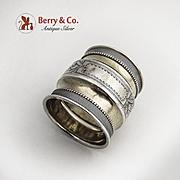 Napkin Ring Engraved Beaded Parcel Gilt Coin Silver 1870 No Monogram