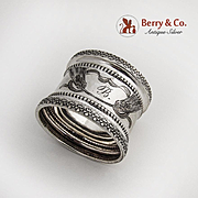 Fleur de Lis Border Napkin Ring 800 Silver 1890