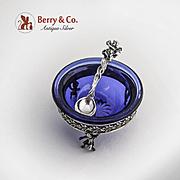 Ornate Open Salt and Spoon Cobalt Blue Glass Figural Cherub Decorations 800 Silver