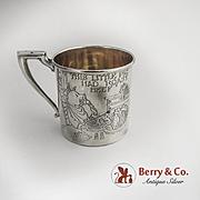 Vintage Nursery Rhyme baby Cup Sterling Silver Webster 1930