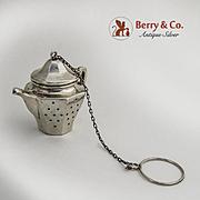 Figural Teapot Tea Ball Sterling Silver 1930